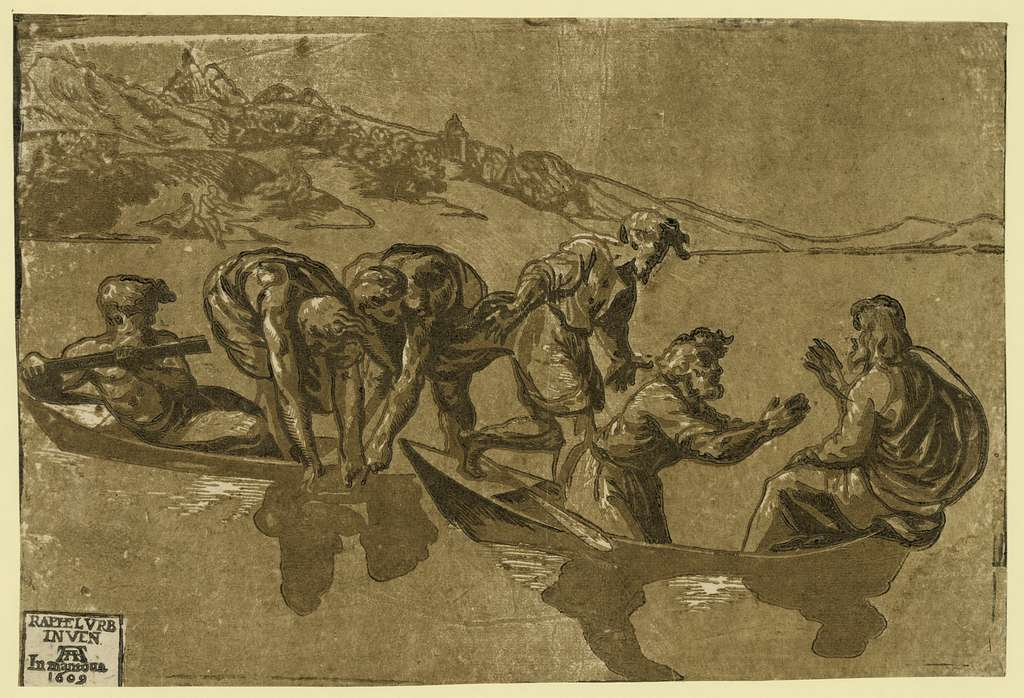 The miraculous draught of fishes / Raphelurb inven. AA [monogram of Andrea Andreani] in Mantoua 1609.