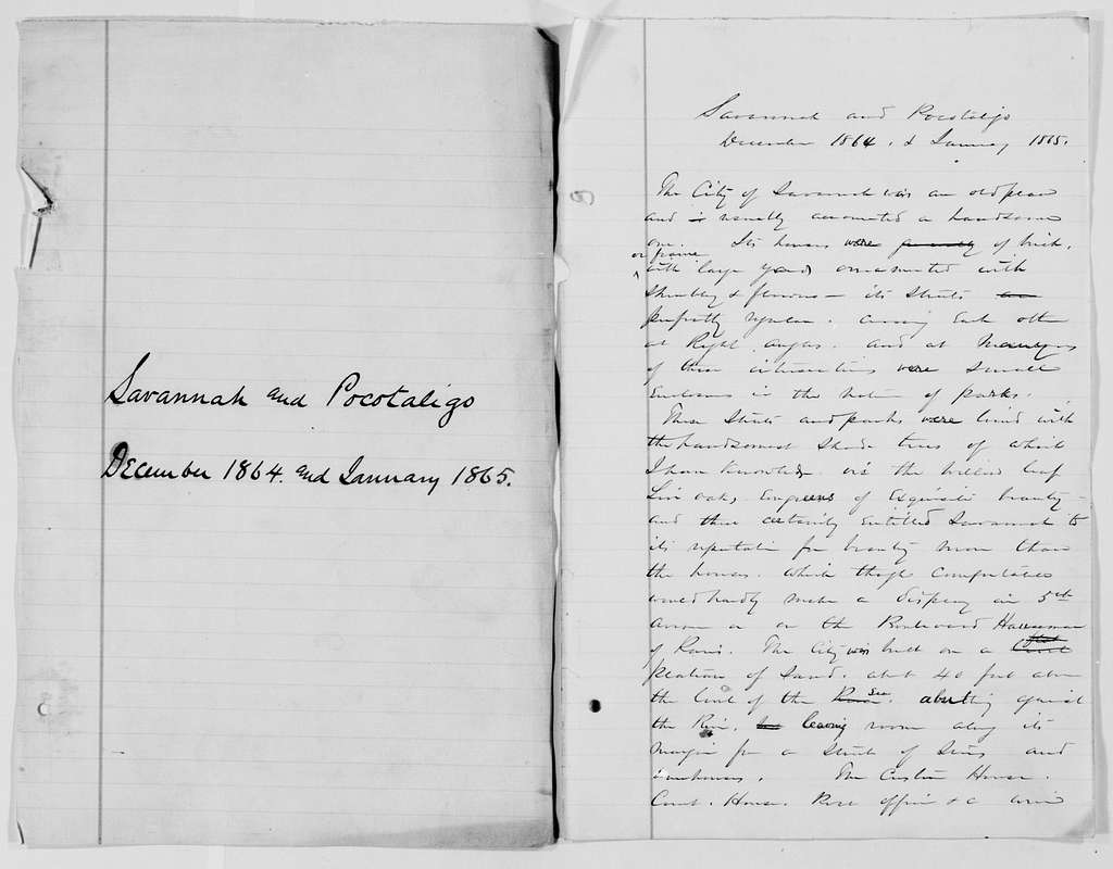 """William T. Sherman Papers: Book File, circa 1875-1896; Memoirs; Drafts; """"Savannah and Pocotaligo"""", 1864, Dec.-1865, Jan"""