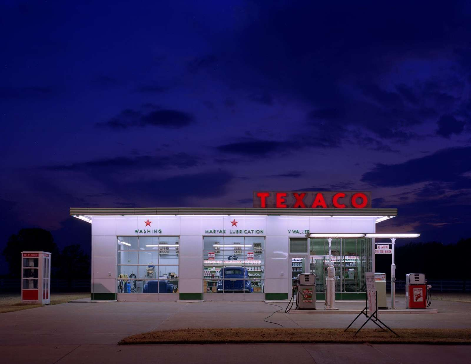 A completely reassembled vintage Texaco Station on the property of Vernon Walker who is a collector of old signs in Arkansas, near Memphis, Tennessee