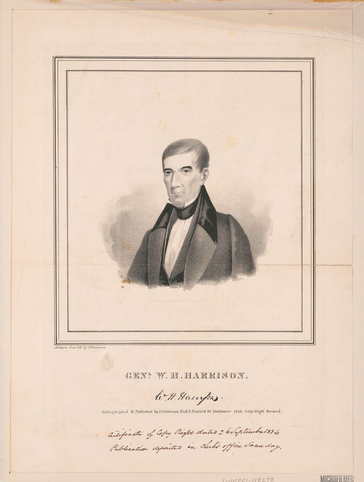 Genl. W.H. Harrison / drawn from life by J. Penniman ; lithographed & published by J. Penniman.