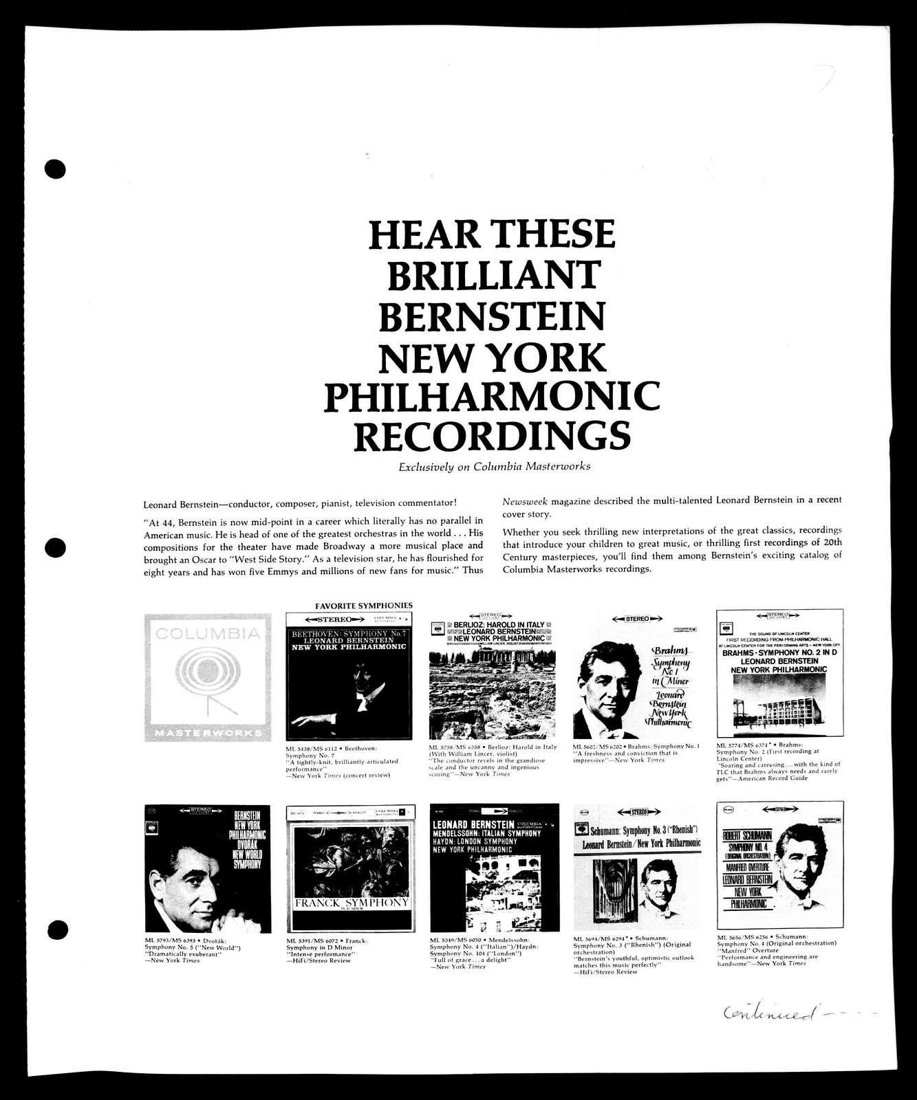 Leonard Bernstein Scrapbook: Vol. 49. July 7, 1963-Oct. 4, 1963