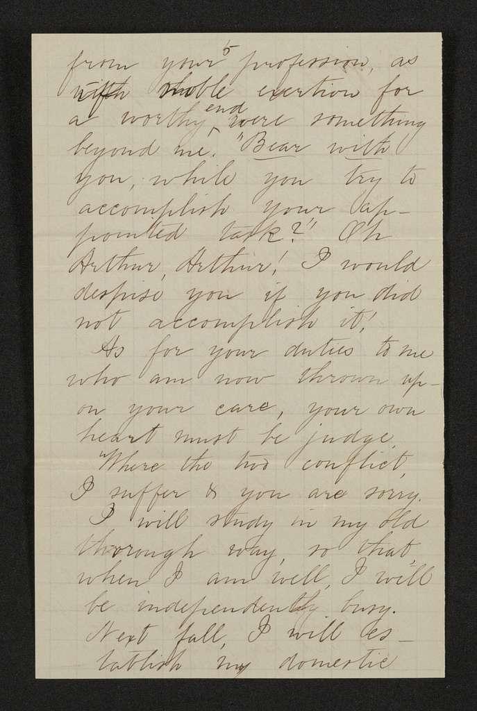 Lewis H. Machen Family Papers: Machen-Gresham Correspondence, 1871-1889; Gresham, Minnie, to Machen, Arthur W.; 1873, May-1876, Dec.