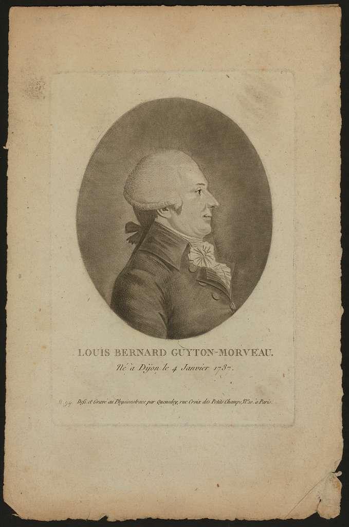 Louis Bernard Guyton-Morveau, né à Dijon le 4 janvier 1737 / Dess. et gravé au physionotrace par Quenedey, rue Croix des Petits Champs, no. 10,à Paris.