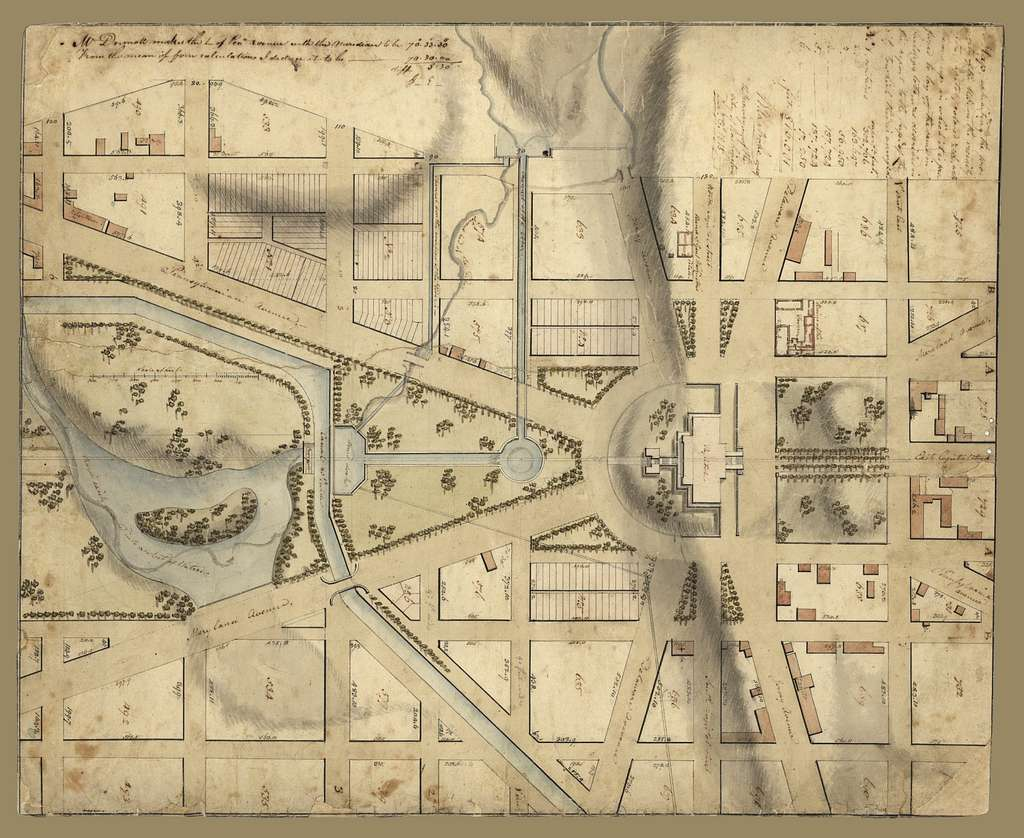 Map exhibiting the property of the U.S. in the vicinity of the Capitol : colored red, with the manner in which it is proposed to lay off the same in building lots, as described in the report to the Sup't of the city to which this is annexed /