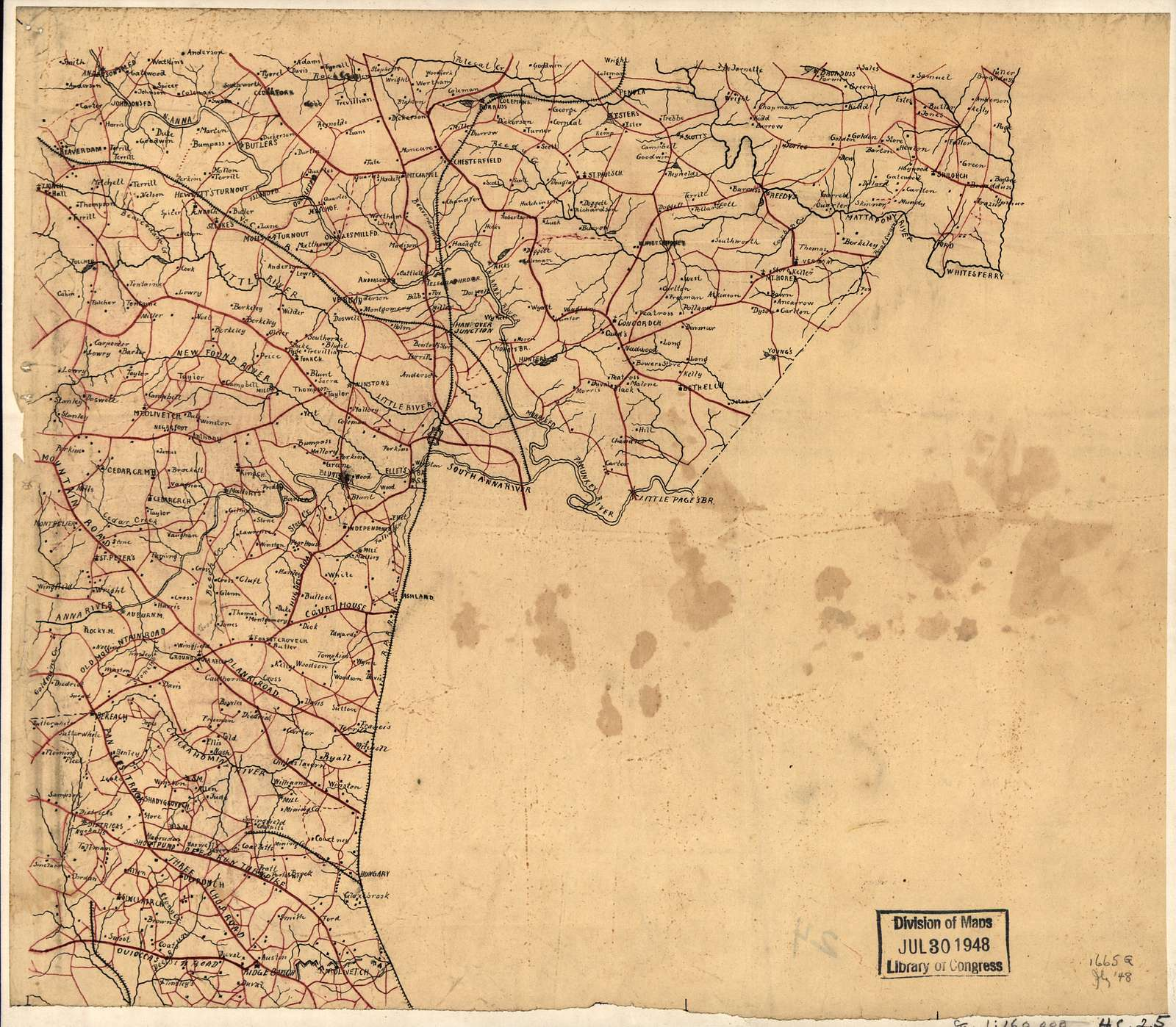 [Map of parts of Caroline, Hanover, and Henrico counties, Va., west of the Mattaponi River and the Richmond, Fredericksburg, and Potomac Railroad].