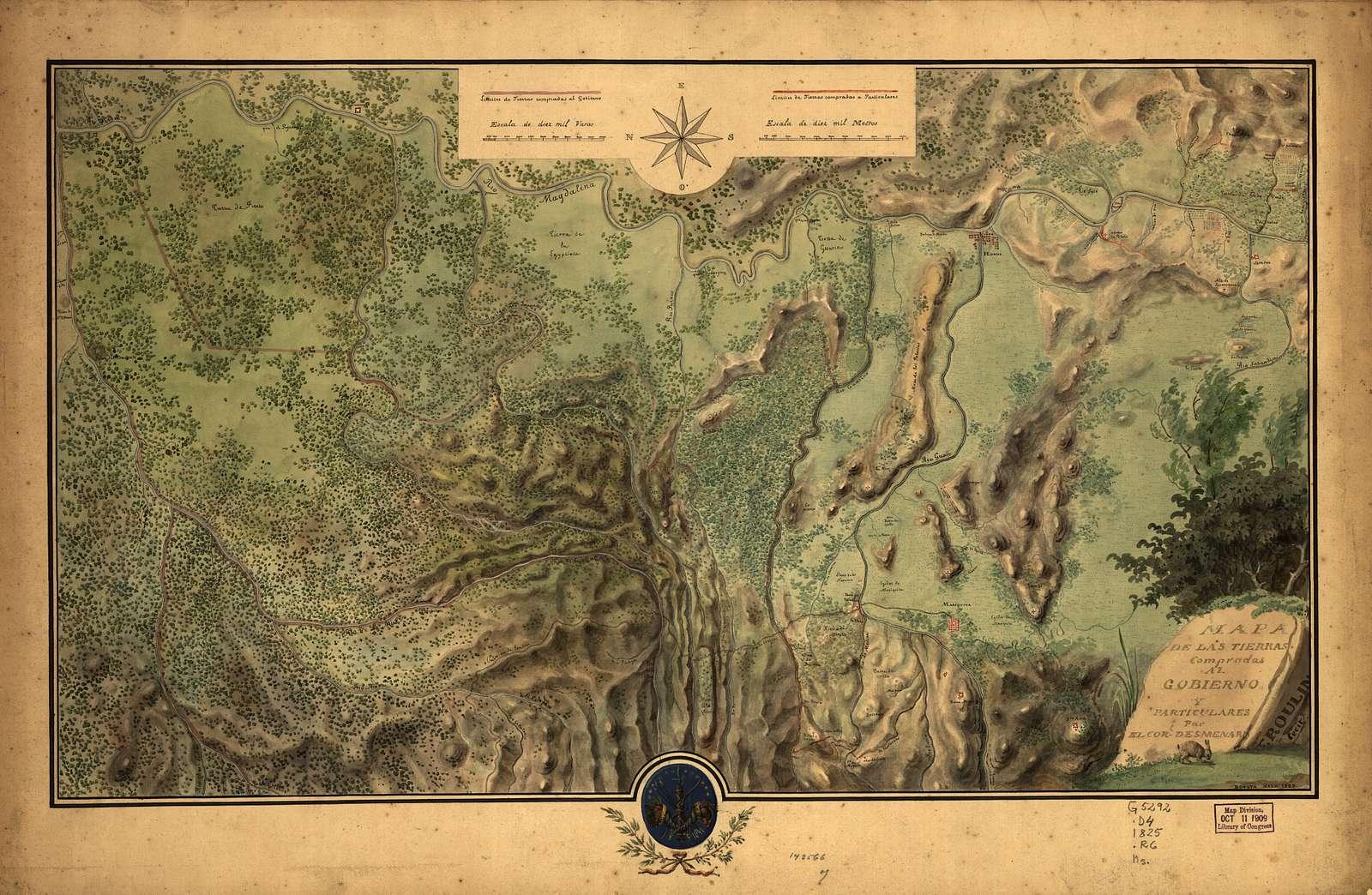 Mapa de las tierras compradas al gobierno y particulares par el Corl. Desmenaro : [región de Honda, Colombia] /