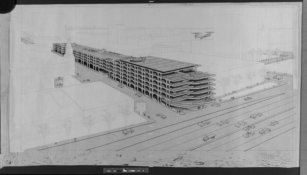 [Parking garage, New Haven, Connecticut. Aerial perspective with helicopters. Rendering]