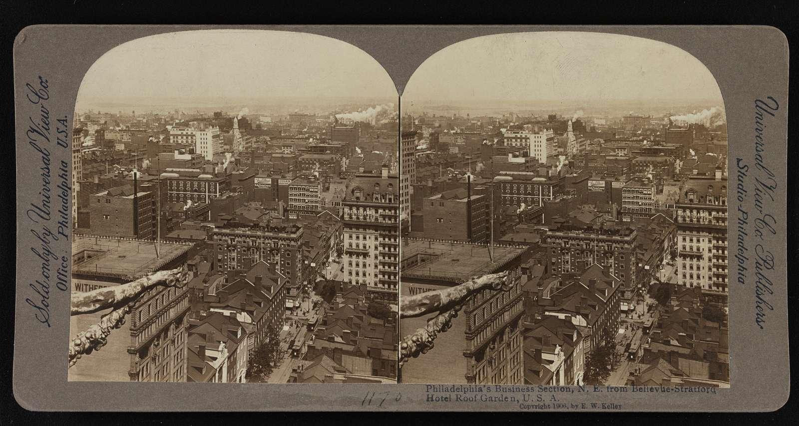 Philadelphia's business section, N.E. from Bellevue-Stratford Hotel Roof Garden