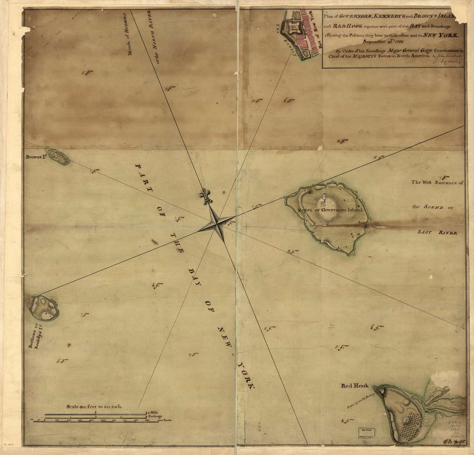 Plan of Governor's, Kennedy's, and Brown's Islan[ds] and Red Hook together with part of the Bay and soundings, shewing the position they bear to each other and to New York, September 18th. 1766. By order of His Excellency Major General Gage, Commander in Chief of His Majesty's forces in North America.
