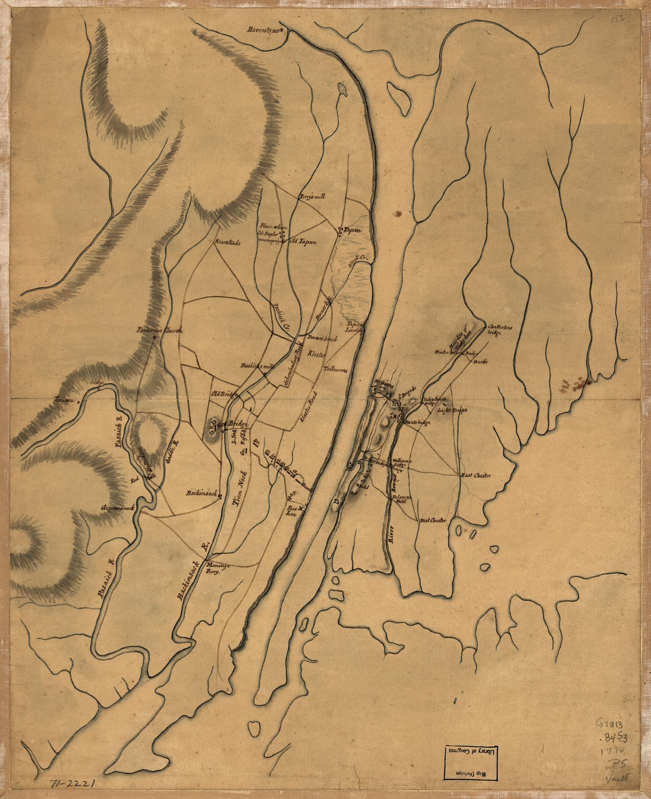 [Plan of the country at and in the vicinity of Forts Lee and Independency, showing the position of the British Army.