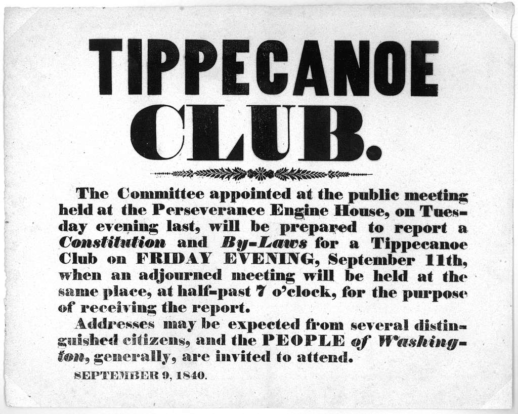 Tippecanoe club. The committee appointed at the public meeting held at the Perseverance engine house, on Tuesday evening last, will be prepared to report a constitution and by-laws for a Tippecanoe club on Friday evening, September 11th ... the