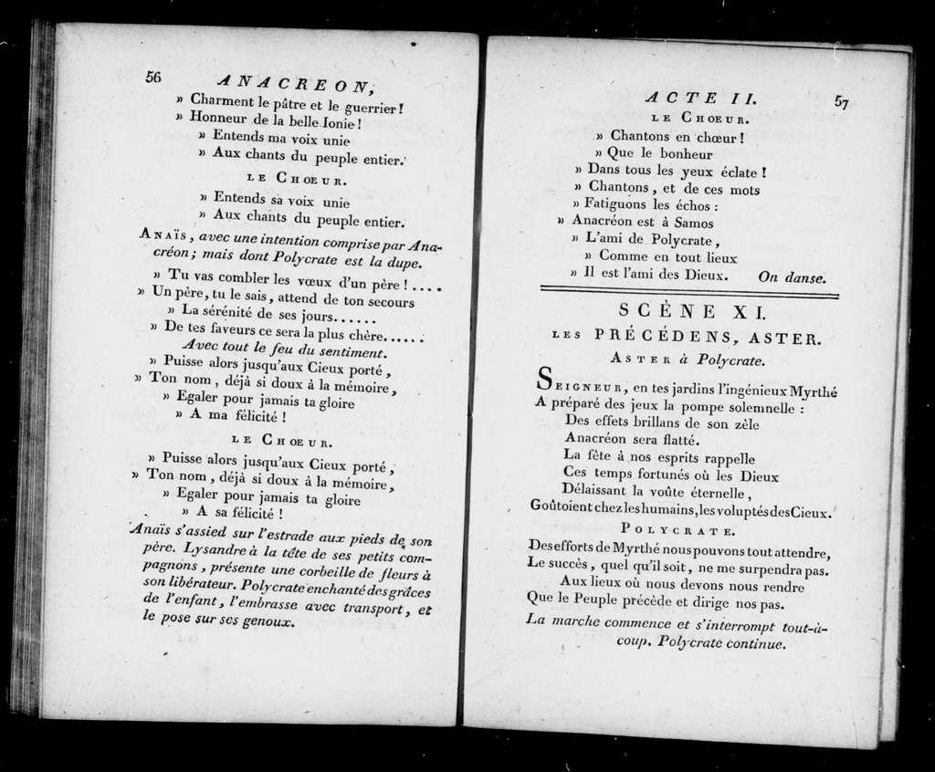 Anacréon chez Polycrate. Libretto. French