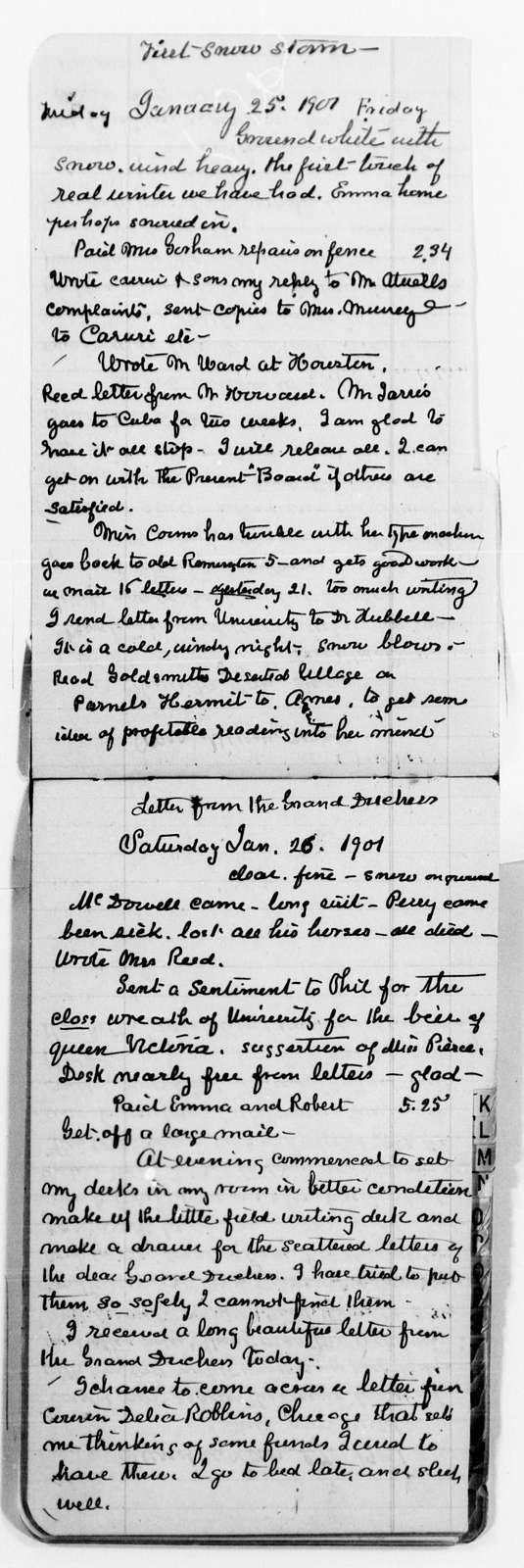 Clara Barton Papers: Diaries and Journals: 1899, Nov. 11-24; 1900, Dec. 12-1901, Mar. 31