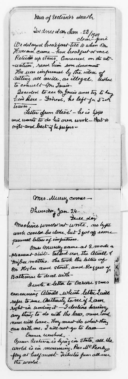 Clara Barton Papers: Diaries and Journals: 1899, Nov. 11-24; 1900, Dec. 12-1901, Mar. 31