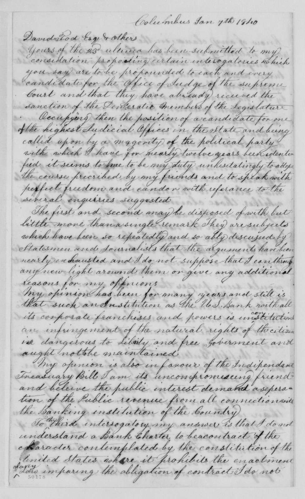 Edwin McMasters Stanton Papers: Correspondence, 1831-1870; 1831, July 19-1862, Jan. 13