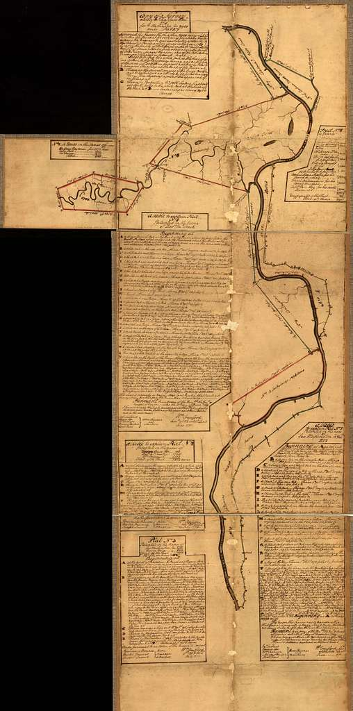 [Eight survey tracts along the Kanawha River, W.Va. showing land granted to George Washington and others.