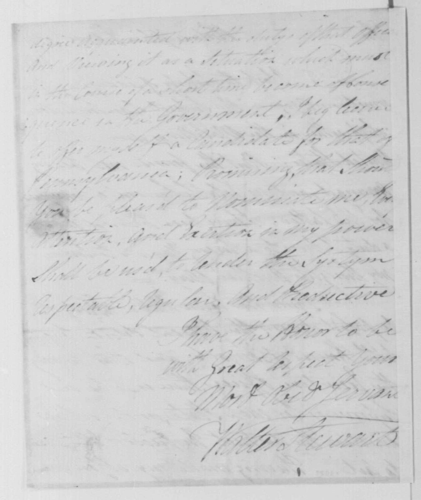 George Washington Papers, Series 7, Applications for Office, 1789-1796: Walter Stewart