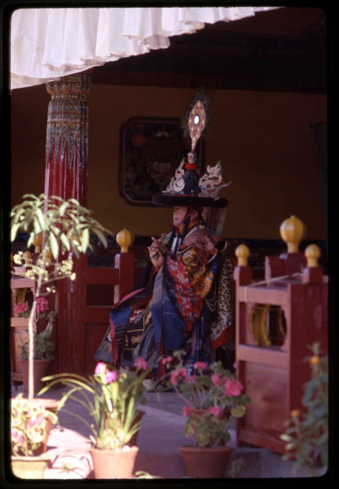 [Head Black Hat Lama chanting during New Year's ceremony, Gangtok, Sikkim]