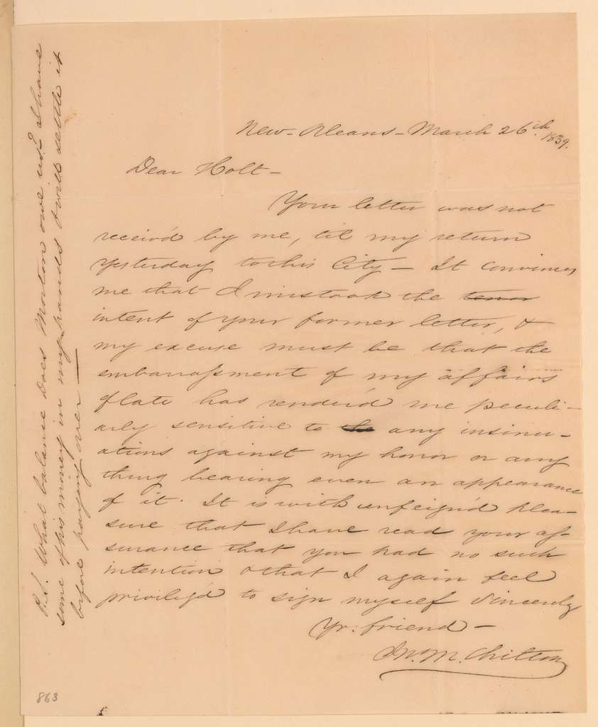 Joseph Holt Papers: General Correspondence and Related Material, 1817-1894; 1838, Mar. 27 -1840, Apr. 11