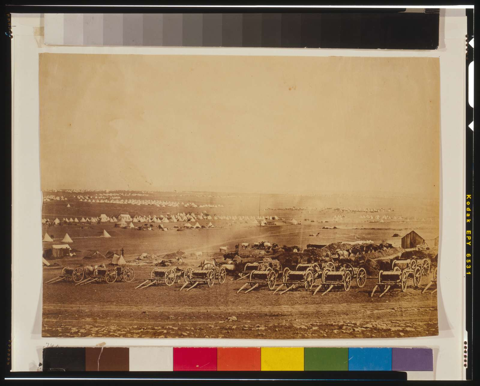 [Kamara Heights in the distance, artillery waggons in the foreground]