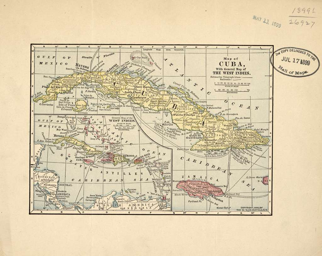 Map of Cuba with general map of the West Indies.