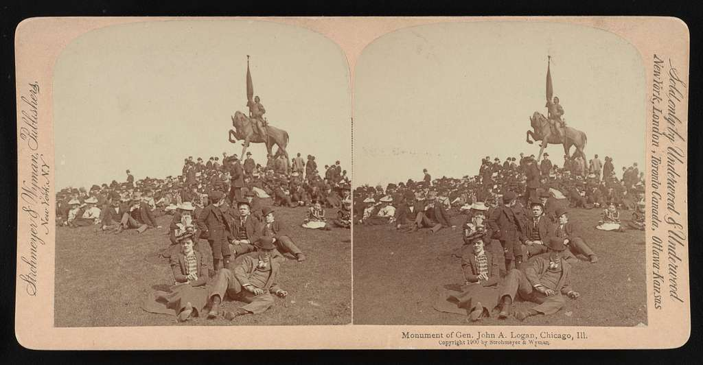 Monument of Gen. John A. Logan, Chicago, Ill. (on horseback, with group of people, mostly seated on lawn, in foreground)