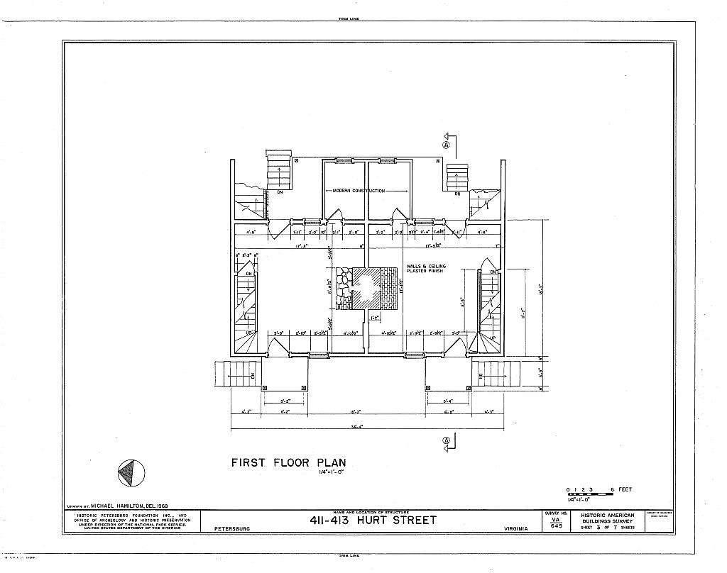 Pig Alley Block Study, 411-413 Hurt Street (Double House), Petersburg, Petersburg, VA