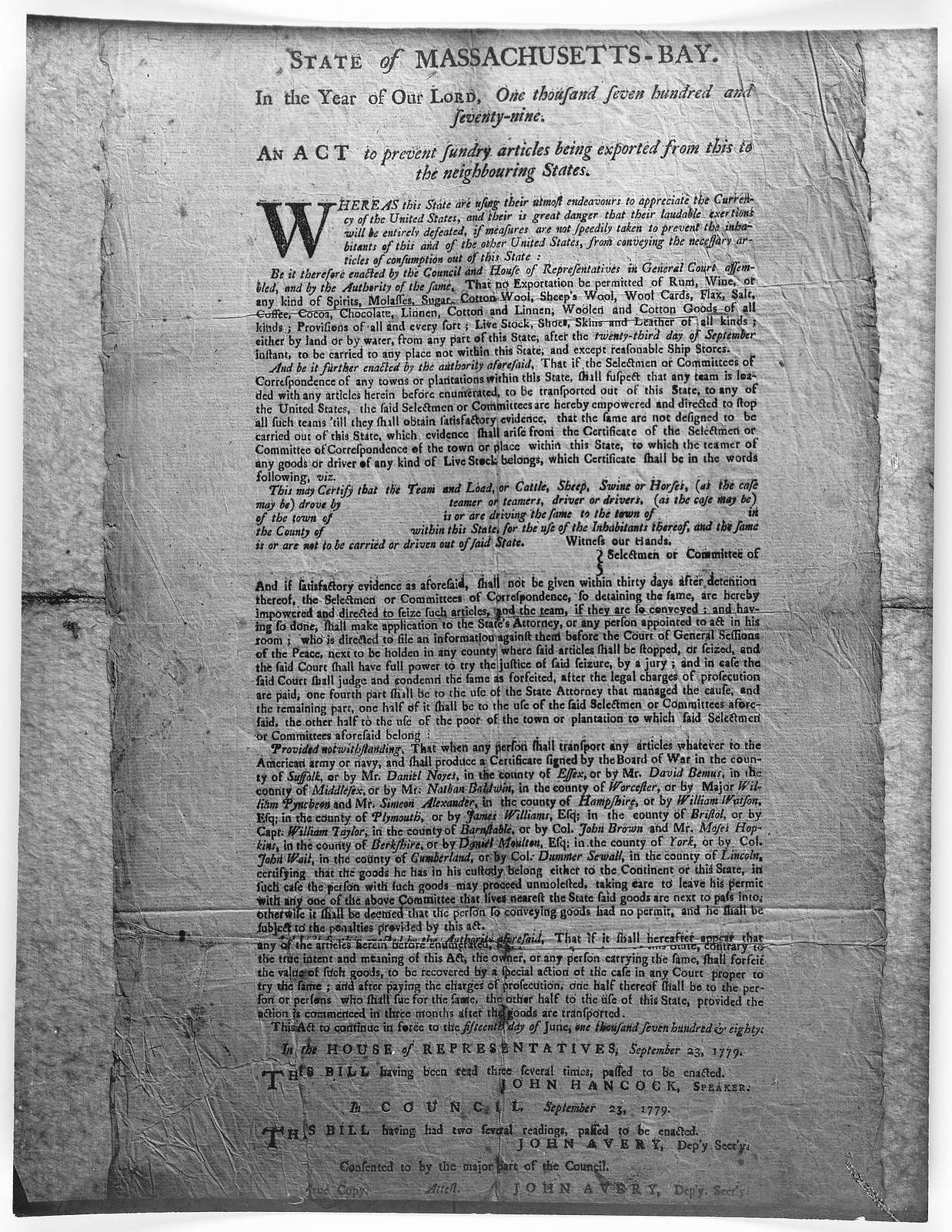State of Massachusetts-Bay. In the year of our Lord, one thousand seven hundred and seventy-nine. An act to prevent sundry articles being exported from this to the neighbouring states ... [Boston, 1779].