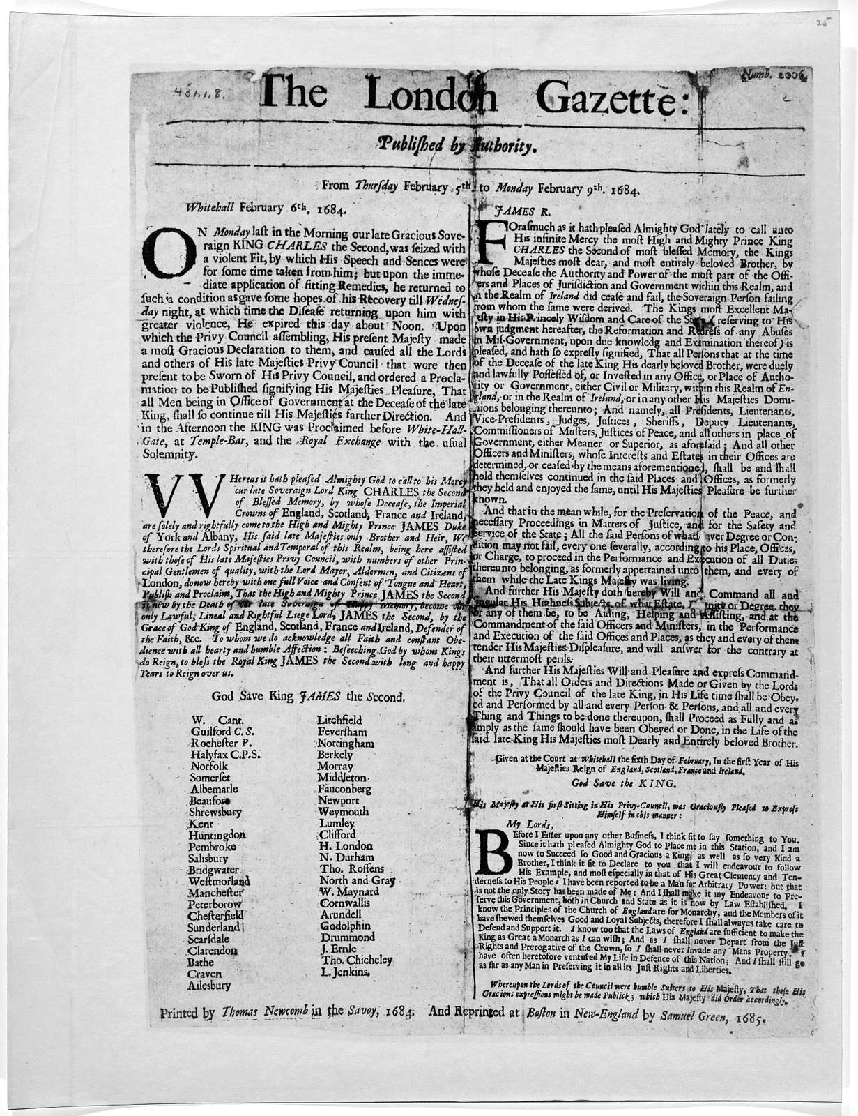 The London Gazette: Published by authority. From Thursday February 5th to Monday February 9th 1684 … Printed by Thomas Newcomb in the Savoy 1684. And Reprinted at Boston in New-England by Samuel Green, 1685.