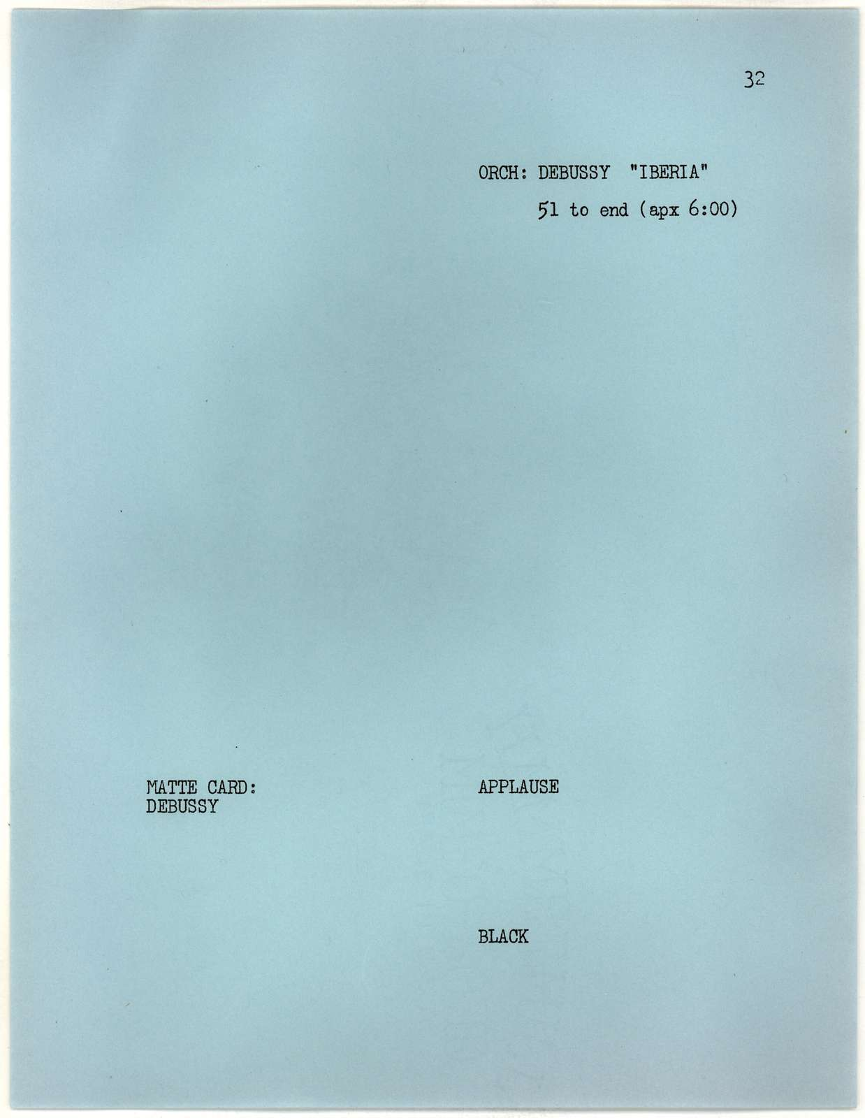 Young People's Concerts Scripts: The Sound of an Orchestra typescript on blue paper with emendations in red, blue and black pencil