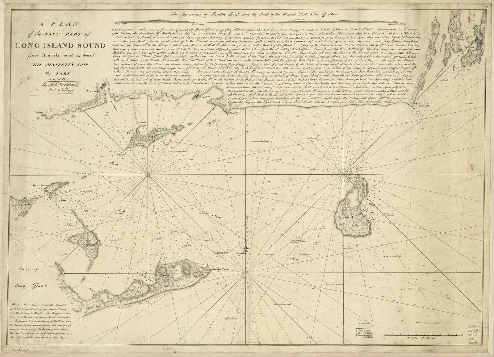 A plan of the east part of Long Island Sound from remarks made on board His Majesty's ship the Lark, A.D. 1777.
