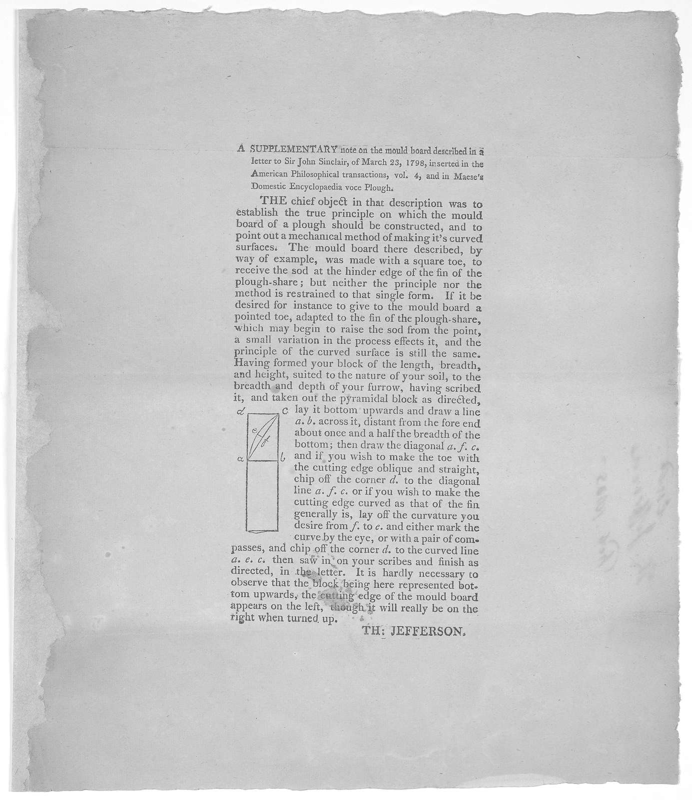A supplementary note on the mould board described in a letter to Sir John Sinclair, of March 23, 1798, inserted in the American Philosophical transactions, vol. 4 nd in Maese's Domestic Encyclopedia voce Plough [Thirty-seven lines and diagram] T