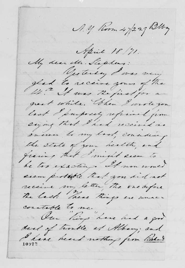 Alexander Hamilton Stephens Papers: General Correspondence, 1784-1886; 1871, Mar. 22-May 24