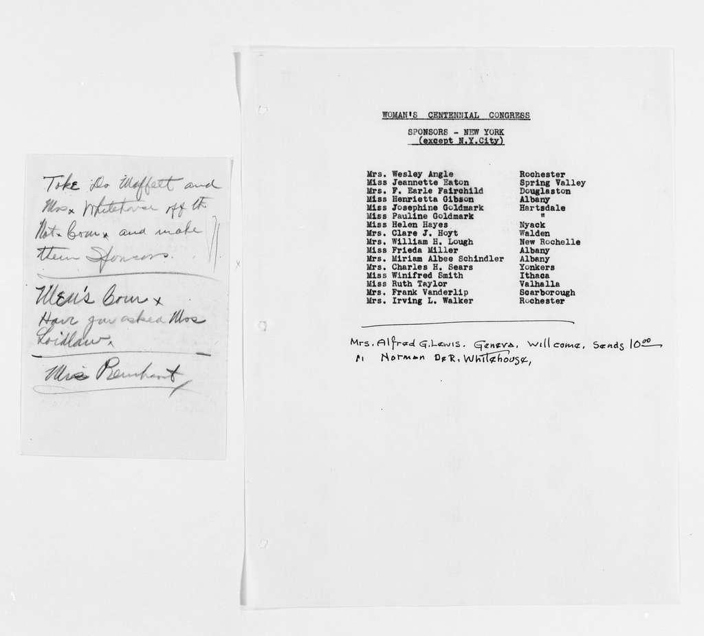 Carrie Chapman Catt Papers: Subject File, 1848-1950; Woman's Centennial Congress; Sponsors
