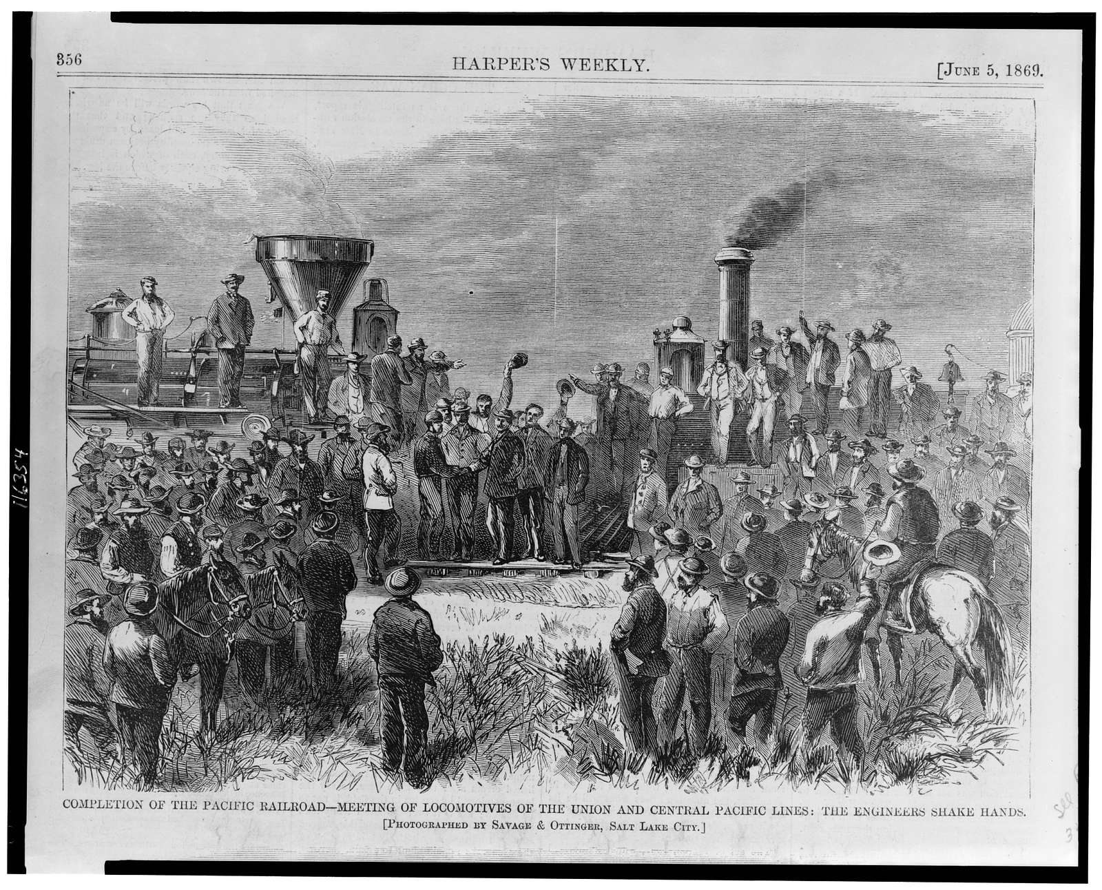 Completion of the Pacific Railroad - meeting of locomotives of the Union and Central Pacific lines: the engineers shake hands