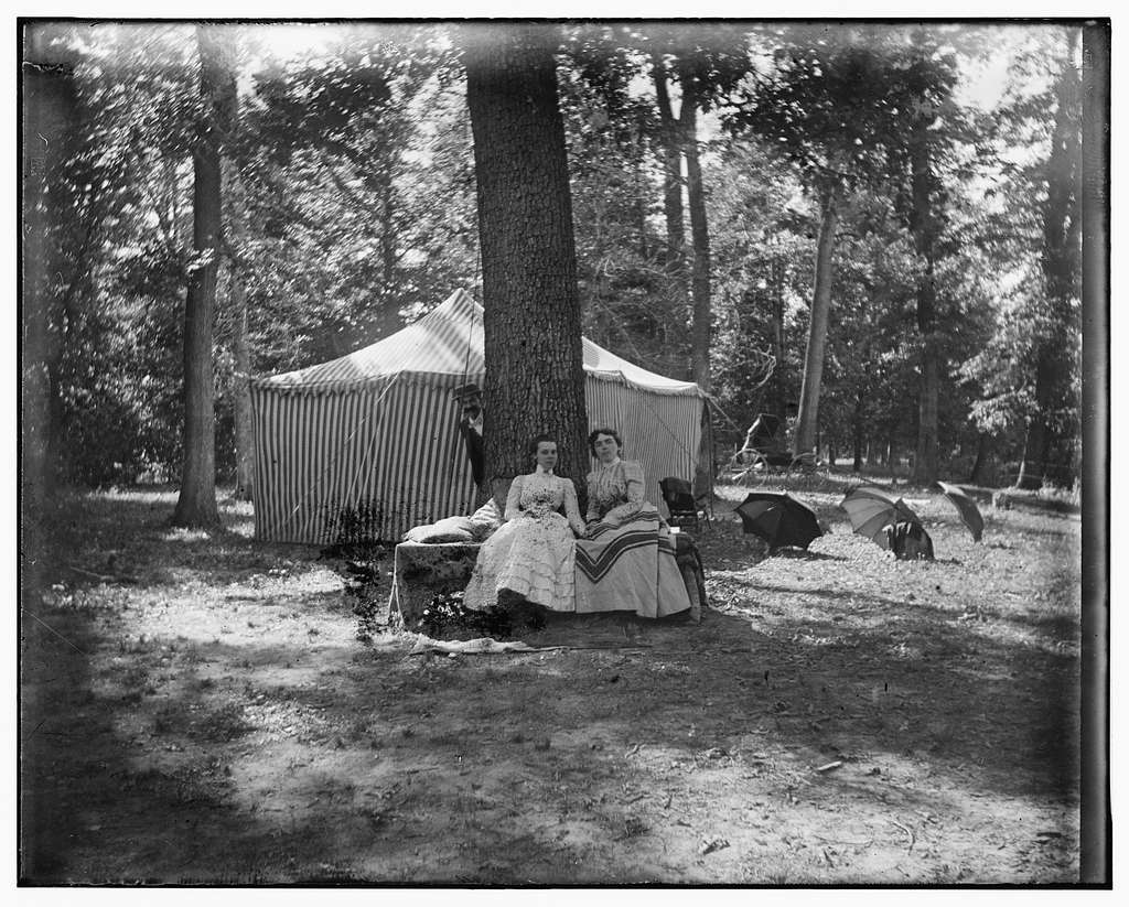 [Dr. McClean, Helen Emmins, and Agnes Osborn, camping at Shoup's Mill, near Dayton, Ohio]