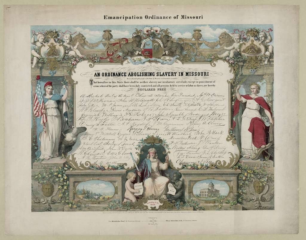 Emancipation Ordinance of Missouri. An ordinance abolishing slavery in Missouri / E. Knobel.