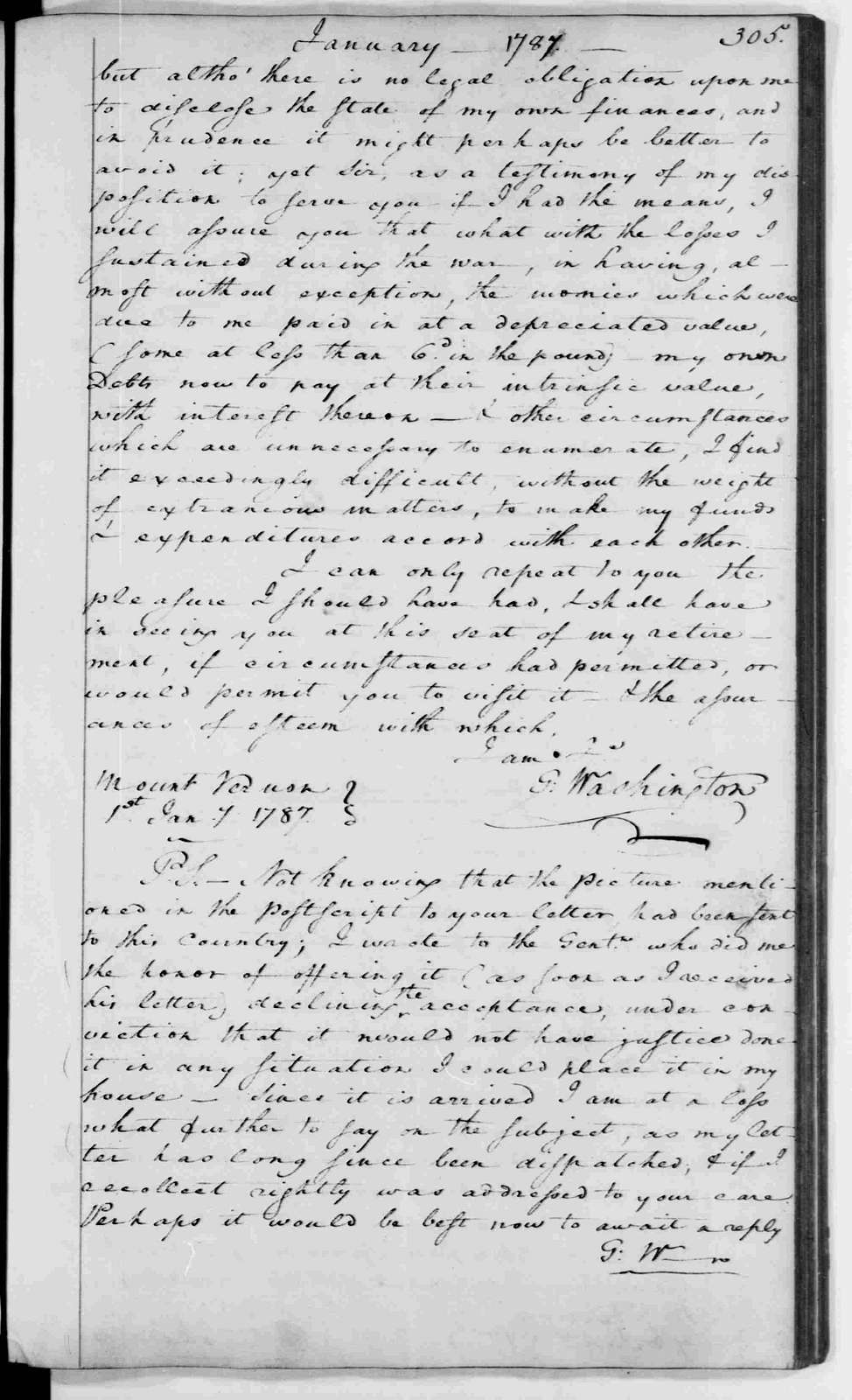 George Washington Papers, Series 2, Letterbooks 1754-1799: Letterbook 13, March 5, 1786 - Jan. 23, 1787