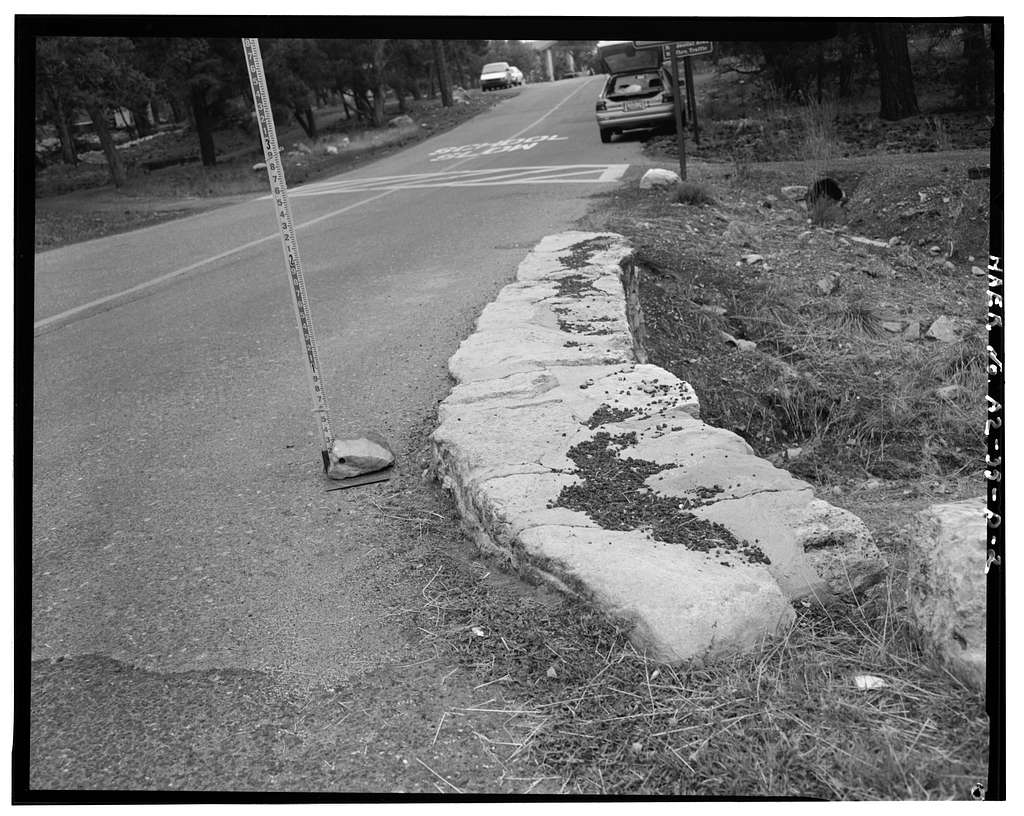 Grand Canyon National Park Roads, Boulder Street Headwall No. 1, Northwest corner of intersection of Boulder Street and Center Road, Grand Canyon Village, Coconino County, AZ