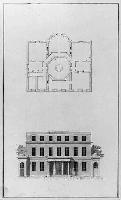 """[Houses and a church (""""Buildings Erected or Proposed to be Built in Virginia""""). South front elevation and attic plan]"""