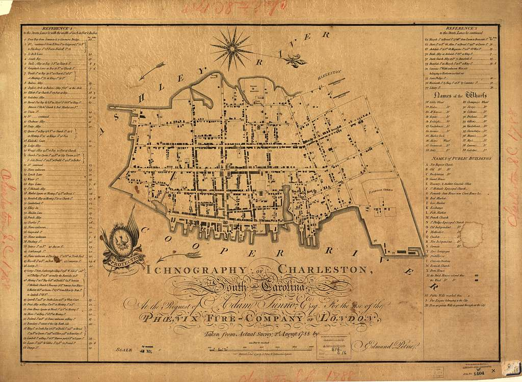 Ichnography of Charleston, South-Carolina : at the request of Adam Tunno, Esq., for the use of the Phœnix Fire-Company of London, taken from actual survey, 2d August 1788 /