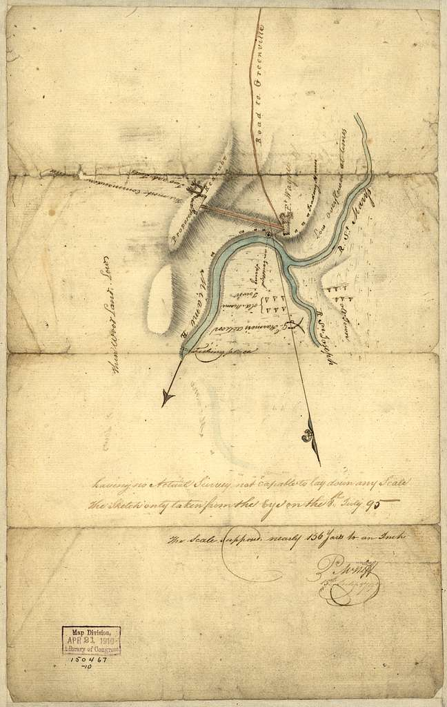 Indiana Fort Wayne : ms. map of Fort Wayne said to have been made on July 18, 1795, for General Anthony Wayne /