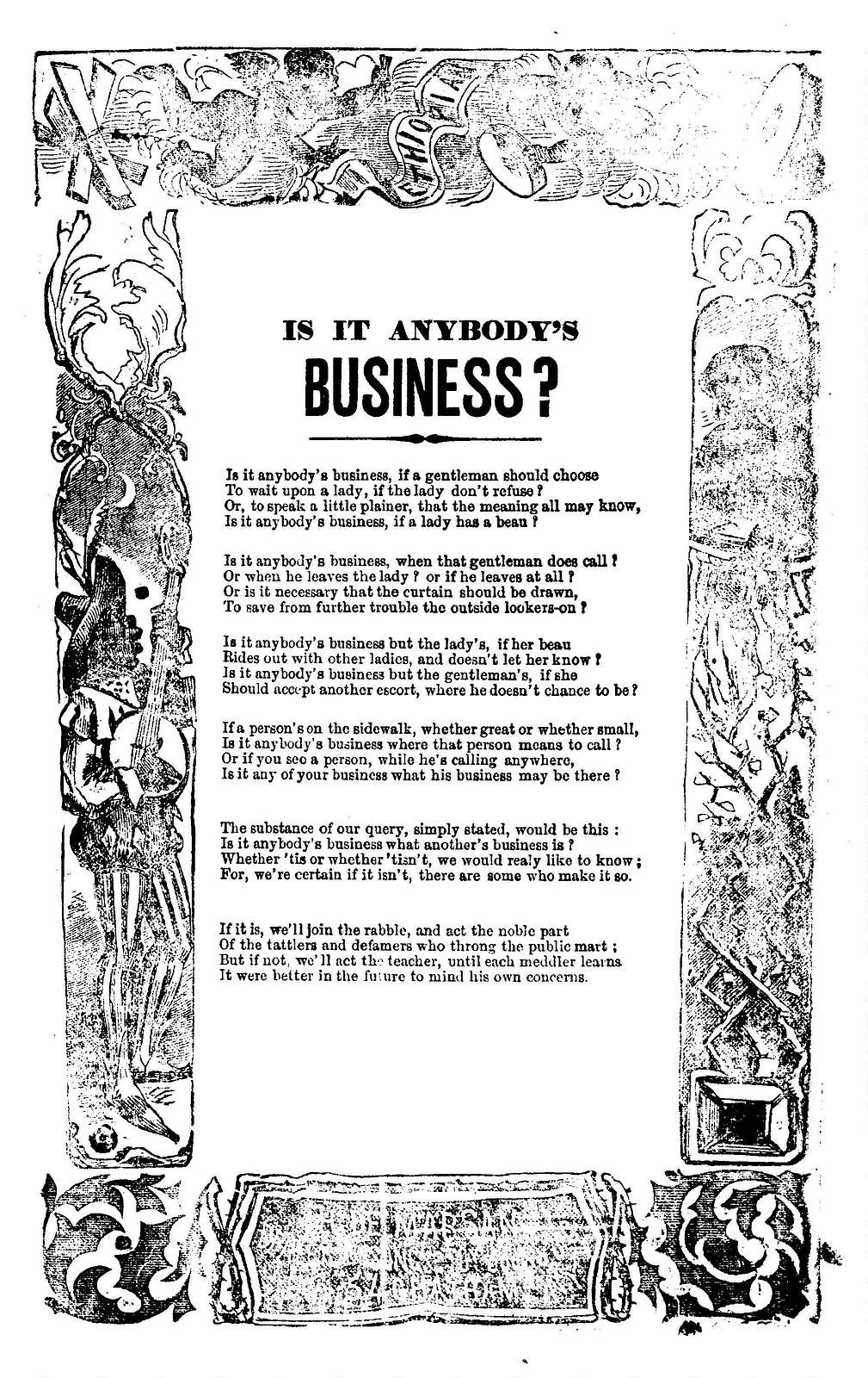 Is it anybody's business? H. De Marsan, Publisher, No. 54 Chatham Street, N. Y