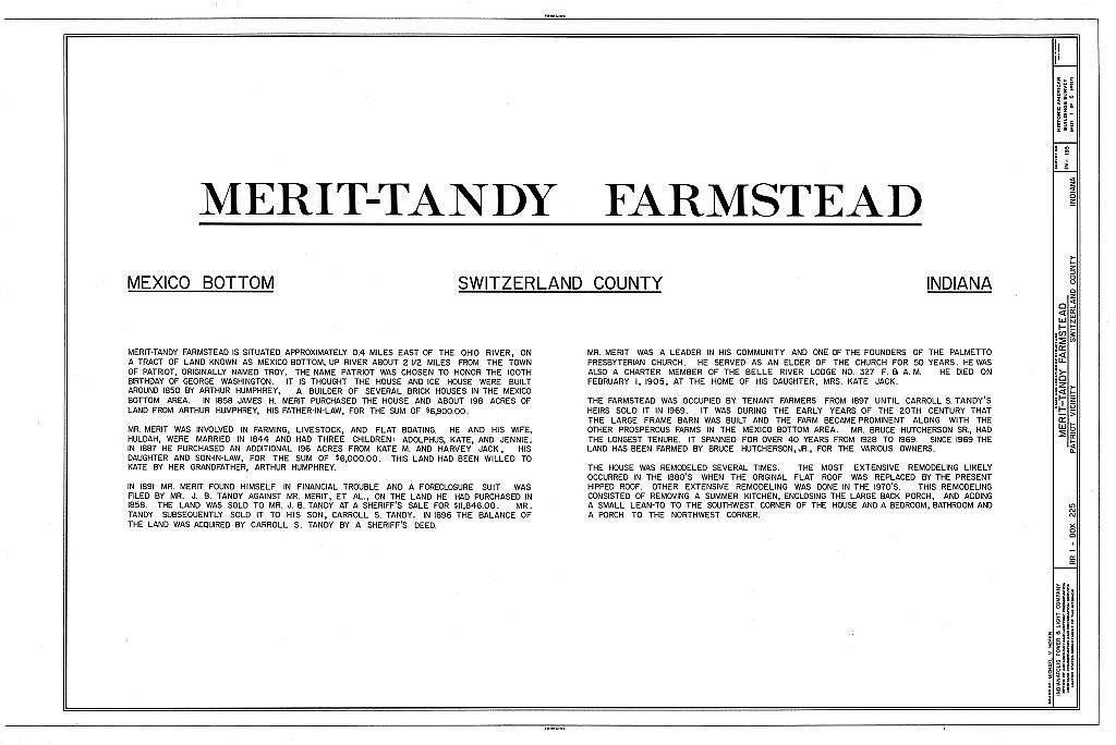 Merit-Tandy Farmstead, RR 1,Box 225, Patriot, Switzerland County, IN