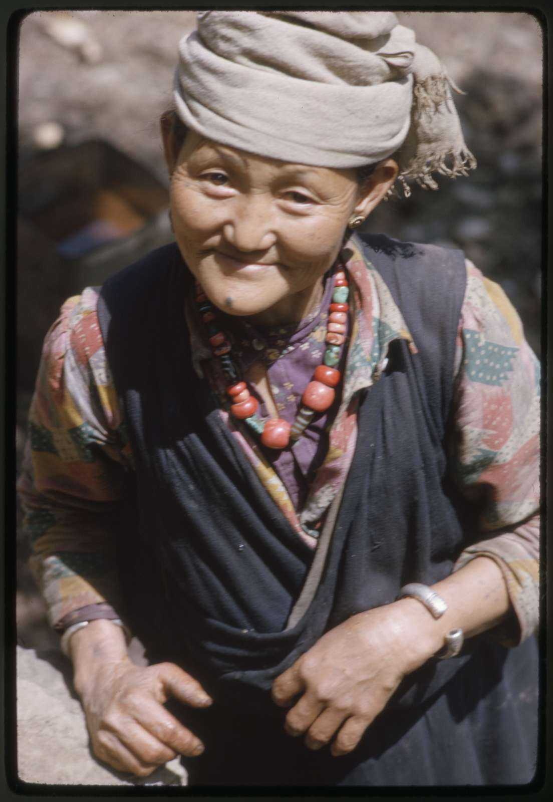 [Nepalese woman road builder, half-length portrait, standing, facing front, Sikkim]