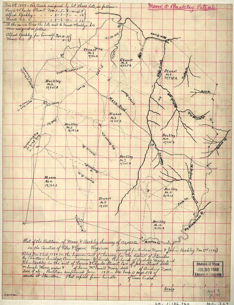 Plat of the partition of Moore & Beckley survey of 170,038 a. in the counties of Giles & Logan, Virginia.