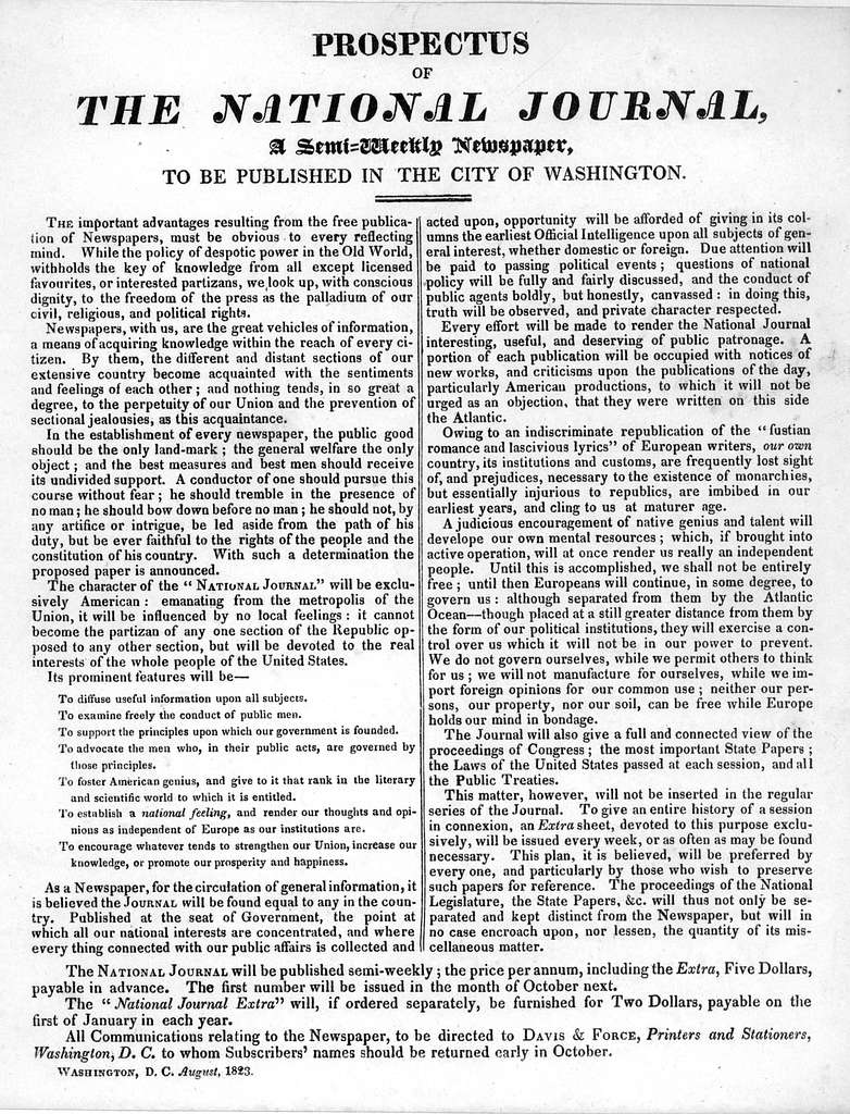 Prospectus of The National Journal, a semi-weekly newspaper, to be published in the City of Washington .... Washington, Davis & Force August 1823.