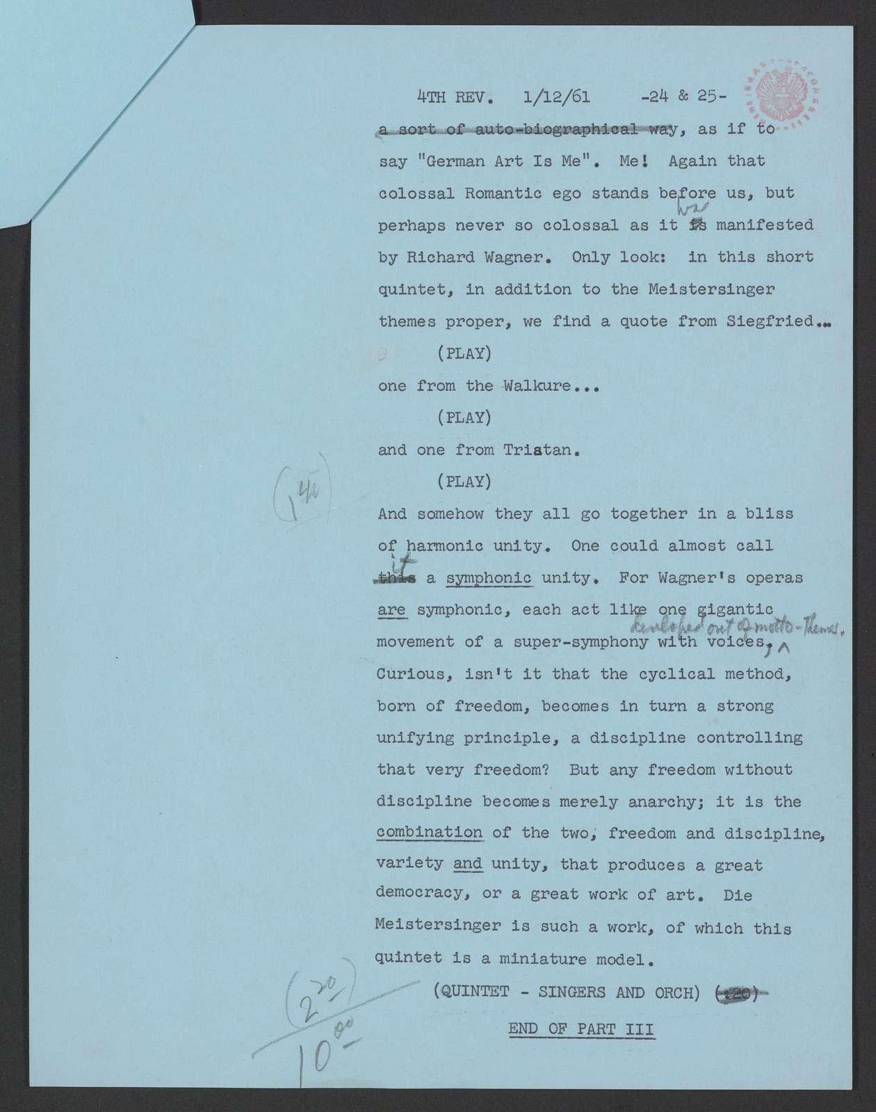 Romanticism in music TV script, Ford Presents, 1961 Jan. 22