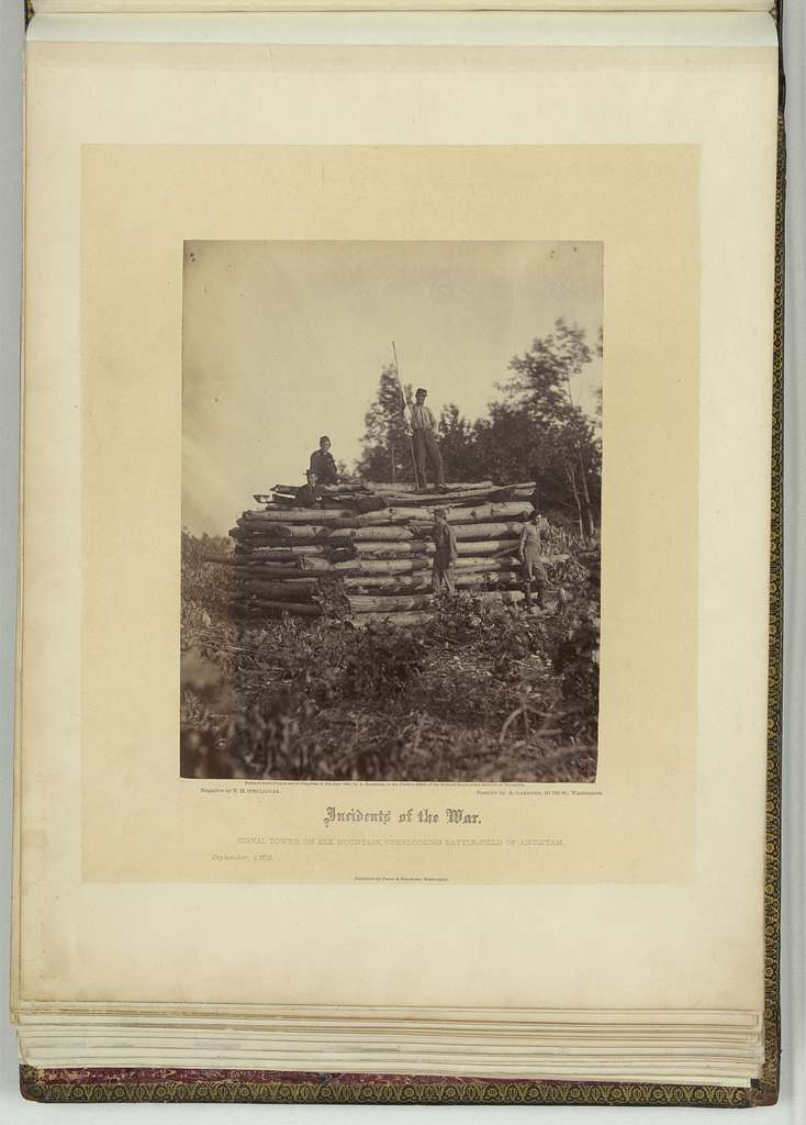 Signal tower on Elk Mountain, Maryland, overlooking battlefield of Antietam / negative by T.H. O'Sullivan ; positive by A. Gardner.