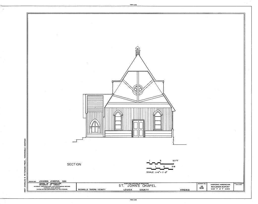 St. John's Chapel, Intersection Routes 617 & 638, Waldrop, Louisa County, VA